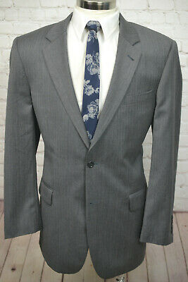 Jos. A. Bank Mens Gray HERRINGBONE Wool Pleated Front 2 Piece Suit 43L 36Wx31L