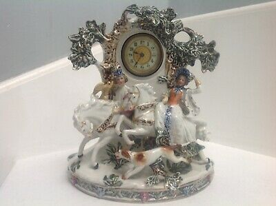 """Antique porcelain mantel clock of a lord & lady hunting with dog & falcon 10"""""""