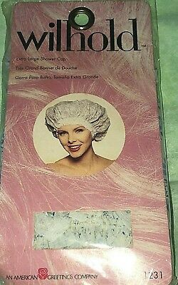Vintage WILHOLD Blue Floral LACE TRIM ~ SHOWER CAP sz XL ~ New in Package