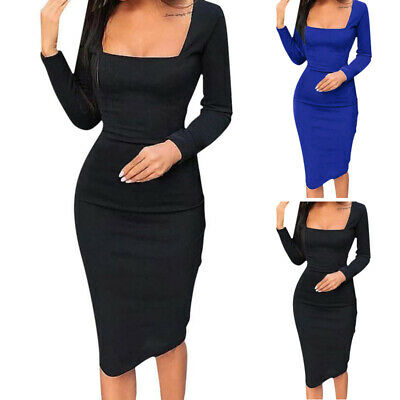 Women Sexy Long Sleeve Bodycon Pencil Bandage Coktail Evening Party Midi Dress