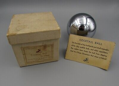 Vintage Art Deco Chrome Chase Cocktail Ball - Russel Wright - In Box!