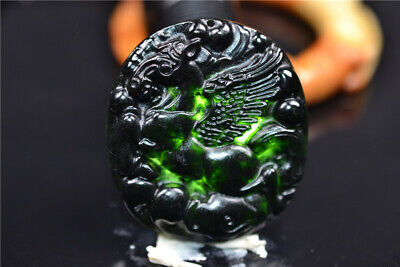 Chinese Dark Jade Handmade carving Flying horse Pendant have flaws Blemish  147