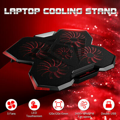 5 Fans Red Light Gaming Laptop Cooling Stand Smart LED Touchscreen 12-17 Inch