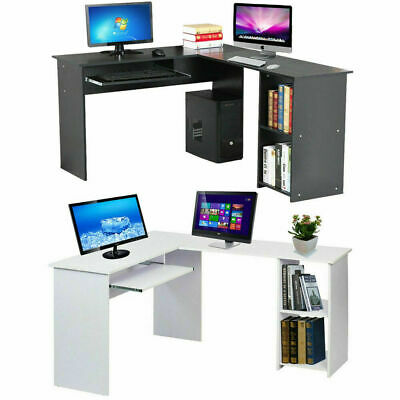 L-Shaped Wooden Corner Computer Desk Home Office Study Gaming Table with Shelves