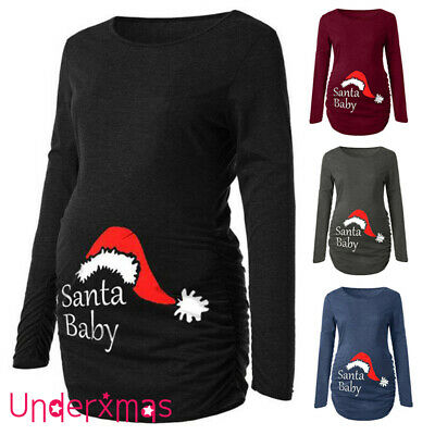Maternity Women's Christmas Santa Baby Top Pregnancy Pullover Blouse Tops Jumper