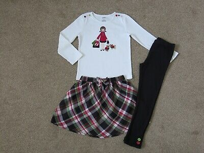 GYMBOREE Girls Pups & Kisses 3 Piece Set Outfit, Top Skirt Leggings Size 5 Years