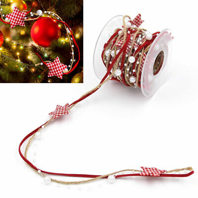 5M/Roll 3 Stands Artificial Bead Stain Ribbon String Christmas Tree Decoration