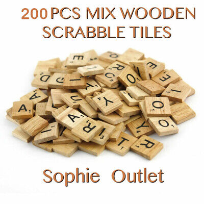 200 Wooden Scrabble Tiles Letters Craft Alphabet Board Game Fun Toy Gift