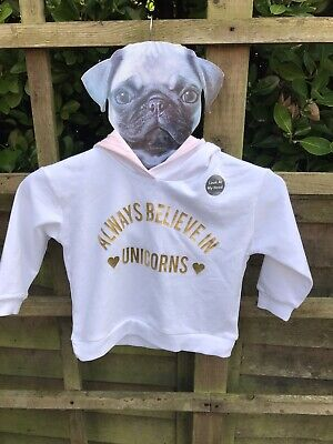 Girls Unicorn Hoodie. White. Gold Horn. Pink Fur. Age 2-3. Brand New With Tags.