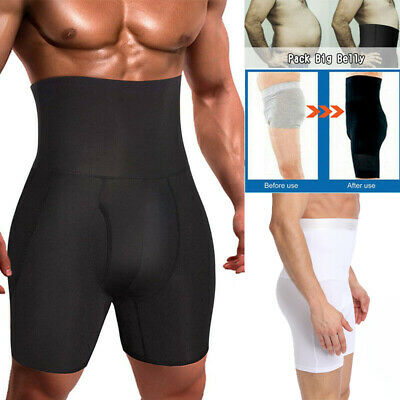 Mens Compression High Waist Boxer Underwear Shorts Slimming Body Shaper Pants US
