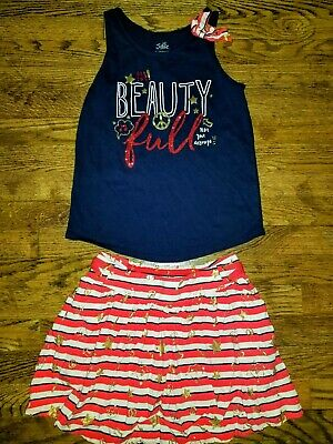 """Girls size 12 JUSTICE """"Beauty Full"""" Tank Top Skirt 4th Of July Red Blue Outfit"""