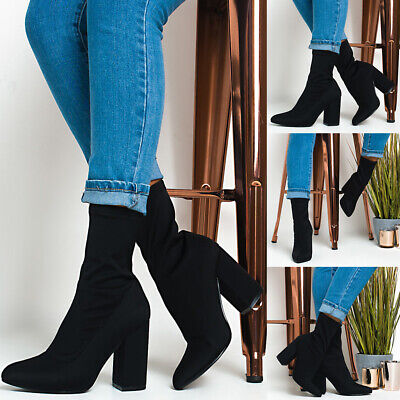 Womens Sexy Pointy Toe Ankle Boots Ladies Chunky Heel Sock Shoes Evening Party