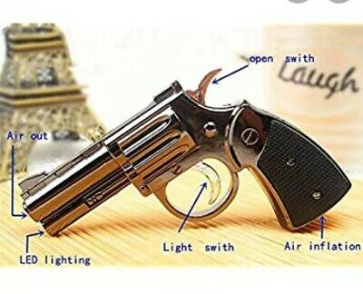 1 X Creative Windproof  Metal Revolver Lighter Refillable Butane Gas With Torch