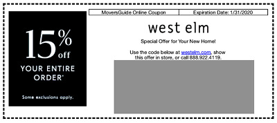 West Elm Coupon 15% off Entire Purchase - Exp. 01/31/2020
