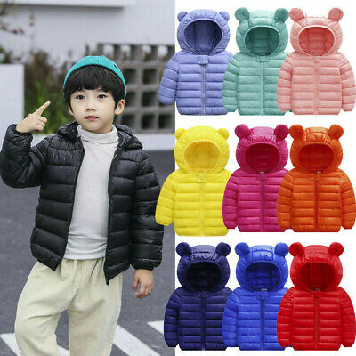 Toddler Baby Boys Girls Winter Down Ears Outerwear Hooded Coat Jacket Clothes