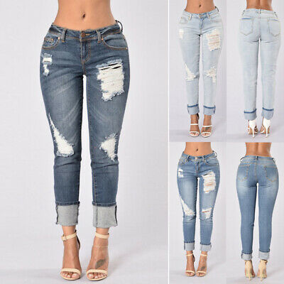 Womens Denim Skinny Ripped Pants High Waist Stretch Jeans Girls Pencil Trousers
