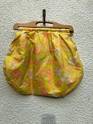 Vintage 60'S Sewing / Knitting Bag Psychedelic Print Yellow Wooden Handle