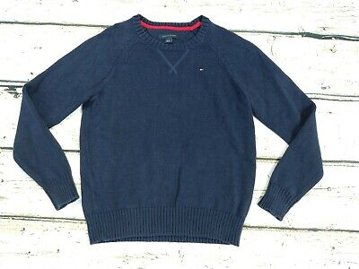 Kids Boys TOMMY HILFIGER Blue Chunky Knit Jumper Sweater 6-7 Years