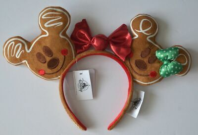 Disney Parks 2019 Christmas Holiday Gingerbread Mickey and Minnie Headband NWT