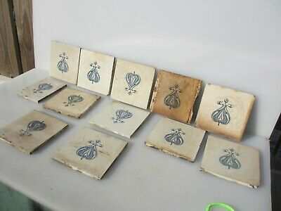 Antique Ceramic Tile Victorian Floral Flower Leaf Art Nouveau Old Craven Job lot