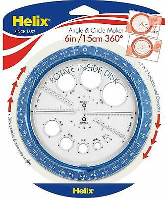 Helix Angle and Circle Maker 360° - Assorted Colour 6 inch/15cm All in One Tool