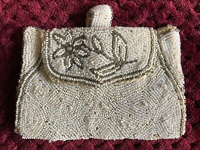 Beautiful Antique French 1920's ART DECO PURSE - Hand Beaded - Floral design