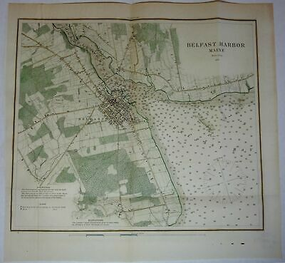 Belfast Harbor Maine city plan exceptional 1879 USCGS nautical chart old map