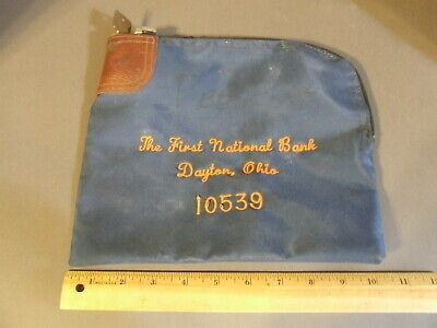 Vtg First National Bank Dayton Ohio Security Deposit Money Bag Lock & Key 10539