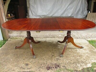 Early 20th century Regency style mahogany pedestal d-end dining table (ref 718)
