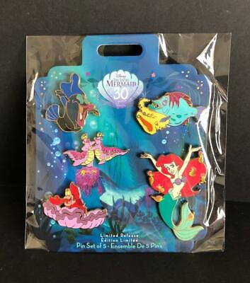 Disney Store The Little Mermaid 30th Anniversary 2019 Ariel, Sebastian 5 Pin Set