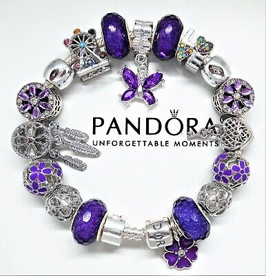 "Authentic Pandora Bracelet Silver with ""LOVE STORY"" Purple with European Charms"