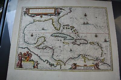 Original 1635 Blaeu Map FLORIDA CUBA WEST INDIES CENTRAL AMERICA Virginia Mexico