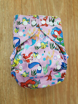 Modern Cloth Reusable Washable Baby Nappy Diaper & Insert, Underwater Mermaid