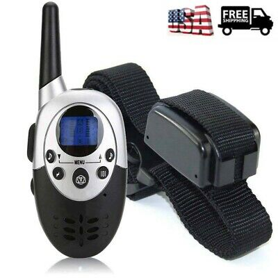 US Waterproof 1000 Yard Dog Shock Training Collar Pet Trainer w/ Remote 3 Mode