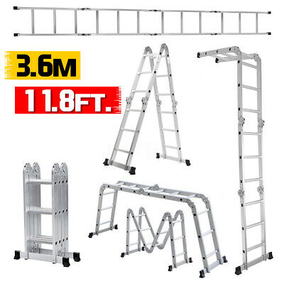 3.6m Multi purpose Step Folding Ladder Aluminum Extension Ladder Step Scaffold