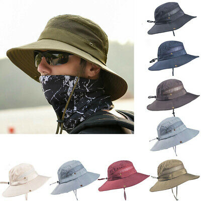 AU Summer Mens Sun Hat Bucket Fishing Hiking Wide Brim UV Protection Casual Hat