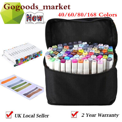 40/60/80/168 Colors Art Markers Set, Dual Tips Coloring Alcohol Ink Marker Pens