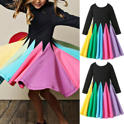 Girls Children Rainbow Colorful Long-Sleeve A-line Pleated Party Princess Dress