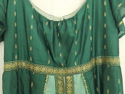 Green silk Regency sari dress.