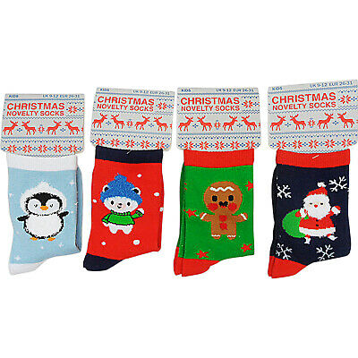 4 Pairs Childrens Boys Girls Ladies Festive Christmas Ankle Socks Novelty Size