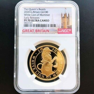 UK 2020 Queen's Beast Great Britain White Lion 1oz Gold Proof Coin NGC PF70UC ER