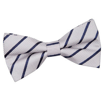 Silver Navy Mens Bow Tie Woven Single Stripe Formal Classic Pretied by DQT