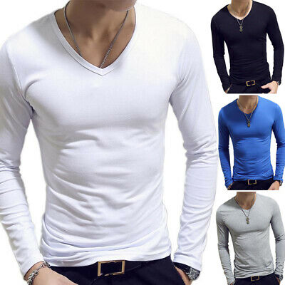 Men's V Neck Long Sleeve T-Shirt Slim Fit Casual Solid Color Basic Tee Shirts ~