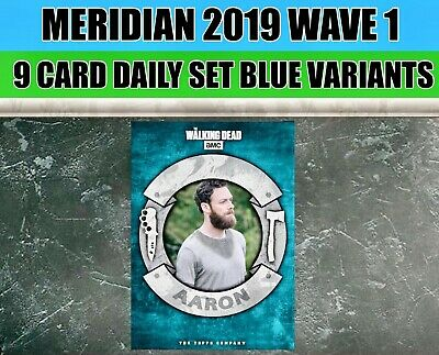 MERIDIAN WAVE 1 BLUE 9 Card SET + AWARD Topps WALKING DEAD DIGITAL Card Trader