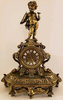 Antique Working 1867 Japy Freres French Victorian Brass Figural Statue Clock