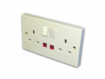 2 Gang Switched Electrical Socket w/ Pilot Lights (13 Amp)
