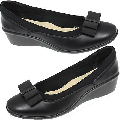 Deacon Wedge Heel Bow Trim Slip On Faux Leather Comfort Shoe
