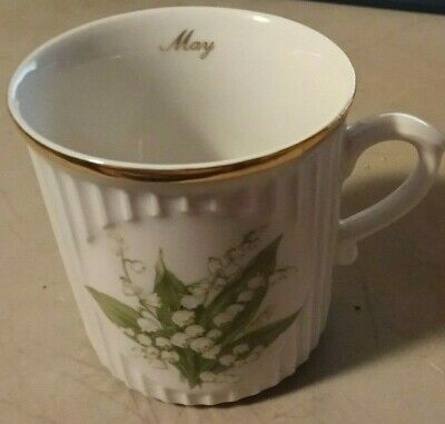 E&R Golden Crown Bone China May Bouquet of the Month Mug - Lily of the Valley