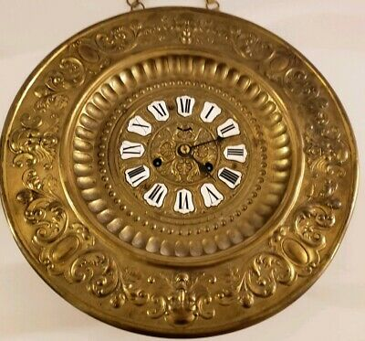 Antique Working 1800's ANSONIA Ornate 30 Day Repousse Brass Regulator Wall Clock