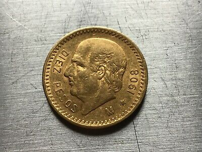 1908 Mexico Gold 10 Pesos (.2411oz) - Average circulated-special price lot 2